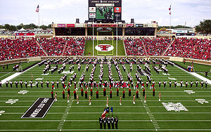 2008 Texas Tech Red Raiders football team - The Goin' Band from Raiderland and pom squad on the field prior to the season's debut game