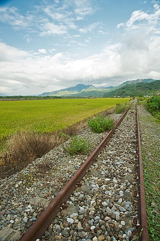 Huadong Valley - Image: Taiwan 2009 Hua Tung Valley Decommissioned Railway Tracks by Rice Paddy FRD 8154