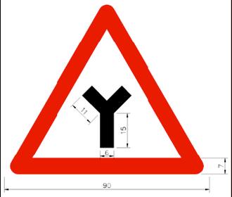 Three-way junction - Image: Taiwan road sign Art 030.7