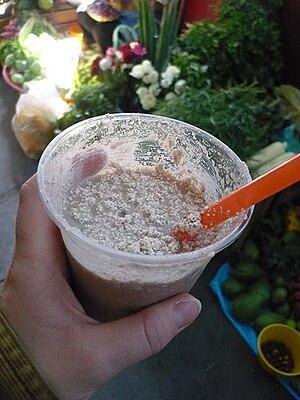Tejate - A cup of fresh Tejate from a market in Oaxaca de Juárez.