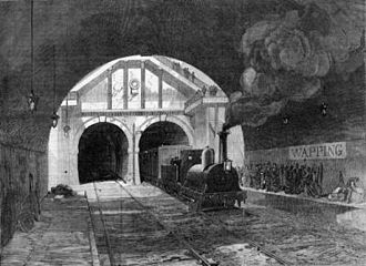 Wapping railway station - Locomotive exiting the Thames Tunnel and arriving at what is now Wapping station. Illustrated London News 8 January 1870.