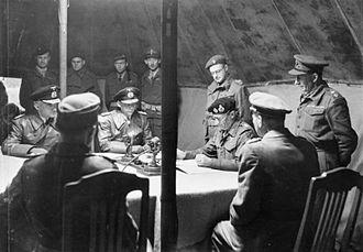 Hans-Georg von Friedeburg - Montgomery (right) and von Friedeburg signing the German surrender at Lüneburg Heath, 4 May 1945