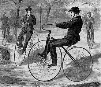 Velocipede - The American Velocipede, 1868, a wood engraving from Harper's Weekly