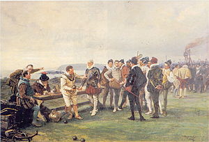 Armada Memorial - Painting by John Seymour Lucas depicting the scene on the Hoe when captains play bowls as the Spanish Armada comes into view (1880)