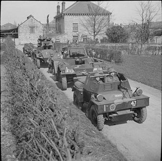 27th Lancers - Armoured cars of the 27th Lancers, 11th Armoured Division, 19 April 1942. A scout car leads, followed by Daimler and Humber armoured cars, with more scout cars bringing up the rear.