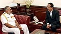 The Commander of the Sri Lankan Navy, Vice Admiral Sirimevan Ranasinghe calling on the Minister of State for Defence, Dr. Subhash Ramrao Bhamre, in New Delhi on March 14, 2018.jpg