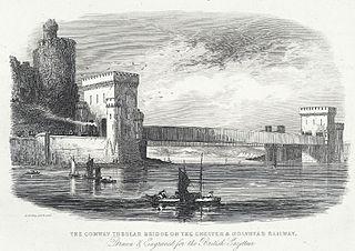 The Conway Tubular Bridge on the Chester & Holyhead railway