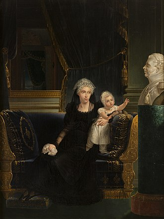 Louise Marie Thérèse of Artois - Princess Caroline of Naples and Sicily (1798-1870), Duchesse of Berry, widow of Charles Ferdinand, Duke of Berry, with her daughter Louise Marie Thérèse d'Artois