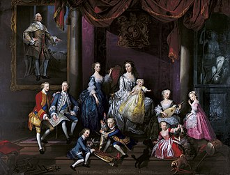 Princess Augusta of Saxe-Gotha - The Family of Frederick, Prince of Wales - a group portrait commissioned from George Knapton by Augusta and completed less than a year after Frederick's death.