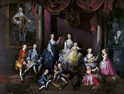 The Family of Frederick, Prince of Wales, a group portrait commissioned from George Knapton by Augusta and completed less than a year after Frederick's death The Family of Frederick, Prince of Wales.jpg