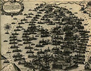 The Ottoman and the Venetian fleet during the Battle of Lepanto in 1571 - Camocio Giovanni Francesco - 1574.jpg