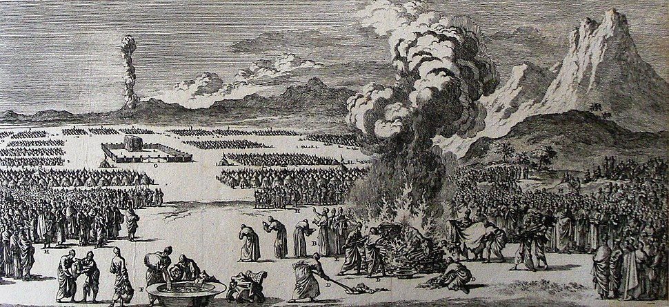The Phillip Medhurst Picture Torah 558. Purification by the red heifer. Numbers cap 19 vv 2-10. Caspar Luyken
