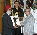 The President, Shri Pranab Mukherjee presenting the Dronacharya Award for the year-2015 to Shri Harbans Singh for Athletics, in a glittering ceremony, at Rashtrapati Bhavan, in New Delhi on August 29, 2015.jpg