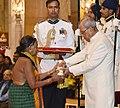 The President, Shri Pranab Mukherjee presenting the Padma Shri Award to Smt. Sukri Bommu Gouda, at a Civil Investiture Ceremony, at Rashtrapati Bhavan, in New Delhi on March 30, 2017.jpg