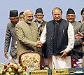 The Prime Minister, Shri Narendra Modi with the Prime Minister of Pakistan, Mr. Nawaz Sharif, at the 18th SAARC Summit, in Nepal on November 27, 2014.jpg