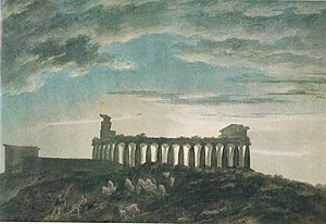 John Robert Cozens - The Small Temple at Paestum, 10 x 14.5 inches, November 7, 1782. Once in the collections of William Beckford and Agnew's.
