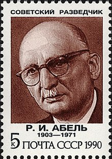 The Soviet Union 1990 CPA 6265 stamp (Soviet Intelligence Agents. Rudolf Abel).jpg