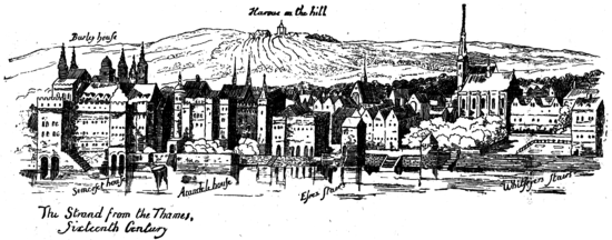 alt = The Strand from the Thames, Fifteenth Century
