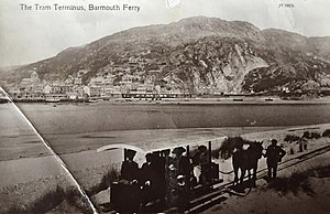 Fairbourne Railway - A Postcard by Valentine and Son of the horse-drawn tramway from Fairbourne to Barmouth Ferry, taken between 1895 and 1916.