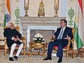 The Vice President, Shri Mohd. Hamid Ansari meeting the President of the Republic of Tajikistan, Mr. Emomali Rahmon, at Dushanbe, in Tajikistan on April 15, 2013 (1).jpg