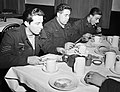 The crew of an Avro Lancaster of No. 57 Squadron RAF eat their bacon and eggs at Scampton, Lincolnshire, after returning from a raid, February 1943. CH8806.jpg