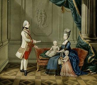Maria Beatrice d'Este, Duchess of Massa - Archduke Ferdinand of Austria with his wife Maria Beatrice d'Este holding Archduchess Maria Leopoldine, standing is Archduchess Maria Theresa of Austria-Este wearing a pink dress.