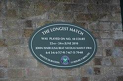 Photo of John Isner and Nicolas Mahut blue plaque