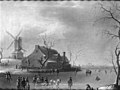 Thomas Heeremans - Winter Scenery with Ice Skaters, a Mill to the Left - KMS3055 - Statens Museum for Kunst.jpg