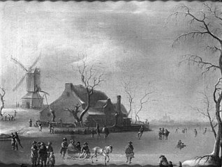 Winter Scenery with Ice Skaters, a Mill to the Left