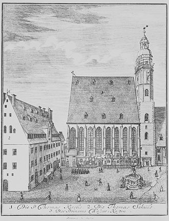 Keyboard concertos by Johann Sebastian Bach - Engraving of the Thomaskirche in Leipzig in 1723, the year in which Bach was appointed there. He took up residence with his family in the Thomasschule on the left.
