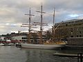 Three-masted barque Kaskelot of Bristol (1948) & Arnolfini building, City Docks, Bristol 10.12.2013 003 (11339853876).jpg