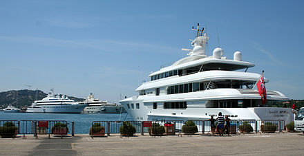 Super Yachts anchored at Porto Cervo port, Costa Smeralda Three luxury yachts - Lady Anne, Lady Moura and Pelorus.jpg