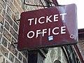 Ticket office sign, Hadlow Road railway station.JPG