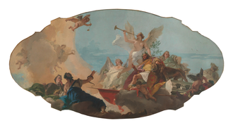 "Palazzi Barbaro, Venice - ""The Glorification of the Barbaro Family"" Ceiling painting originally in the Palazzo Barbaro painted by Giovanni Battista Tiepolo, Metropolitan Museum of Art, New York"