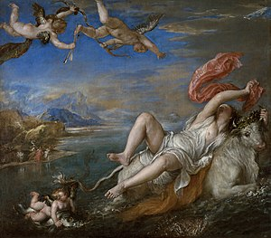 The Rape of Europa (1562) is a bold diagonal composition which was admired and copied by Rubens. In contrast to the clarity of Titian's early works, it is almost baroque in its blurred lines, swirling colors, and vibrant brushstrokes.