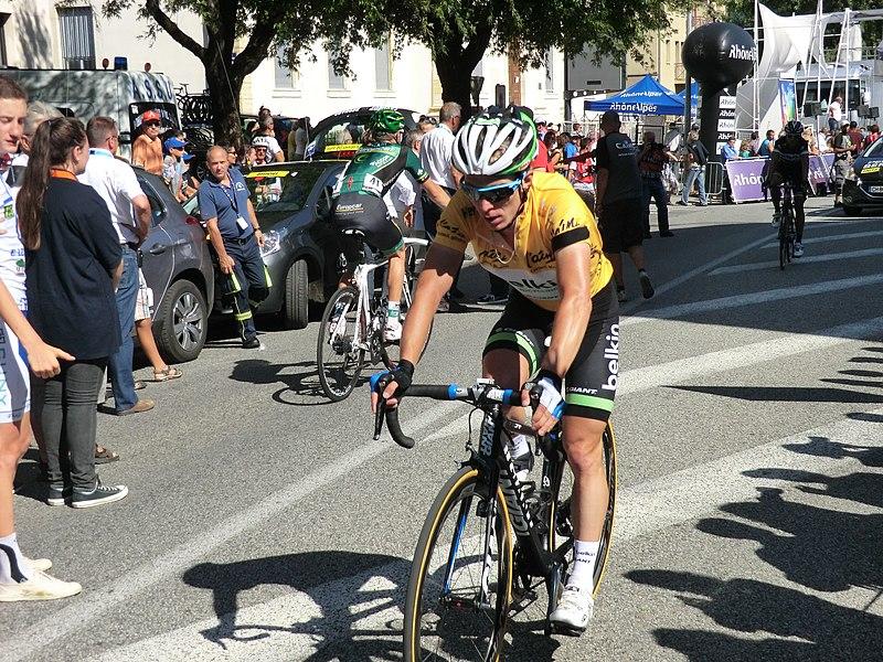 Tom-Jelte Slagter à l'arrivée. Il perd son maillot jaune et rétrograde à la neuvième place du général.