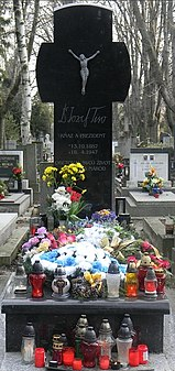 Jozef Tiso's grave, decorated with many candles and flowers