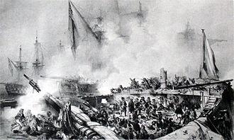 HMS Tonnant - Death of Du Petit-Thouars, by Auguste Mayer
