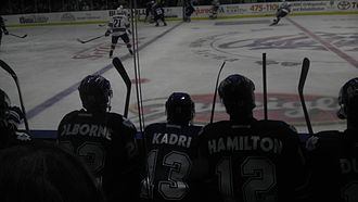 Nazem Kadri - Kadri on the bench (centre) during his time AHL Toronto Marlies, in the 2011–12 season. He later participated in the 2012 AHL All-Star Game.