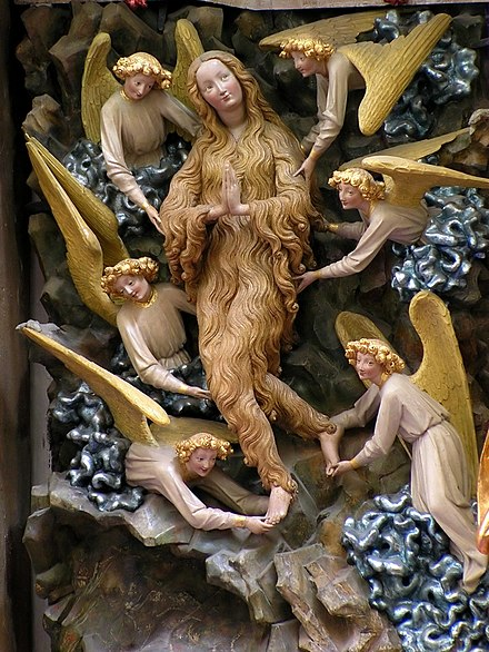 International Gothic Elevation of Mary Magdalene with angels raising her in SS. Johns' Cathedral in Torun Torun SS Johns Mary Magdalene.jpg
