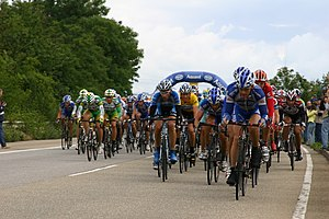 Domestique - Domestiques from several teams form lines at the front of the peloton to keep their leaders near the front of the race. Note George Hincapie working for his team leader Lance Armstrong, visible in the yellow jersey of the Tour de France.