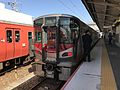 Train for Itozaki Station at Iwakuni Station.jpg