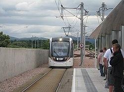 Tram arriving at Edinburgh Airport terminus (geograph 4036956).jpg