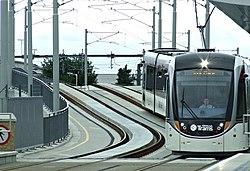 Tram at Murrayfield Stadium (geograph 4018153).jpg