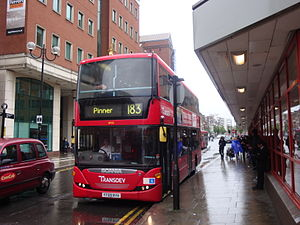 London Buses route 183 - Transdev London Scania OmniCity at Harrow bus station in May 2014