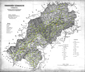 Trencsén County - Ethnic map of the county with data of the 1910 census (see the key in the description).