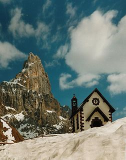 Rolle Pass alpine pass in the Dolomites in Italy