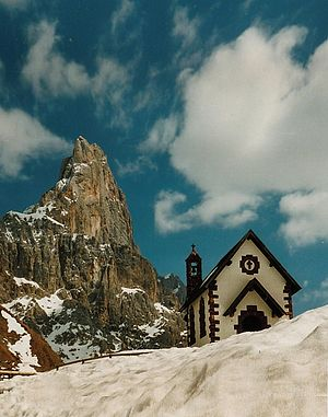 Rolle Pass - Chapel at Rolle Pass, with Cimon della Pala
