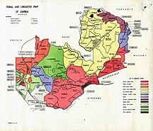 Zambia-Ethnic groups-Tribal Linguistic map Zambia