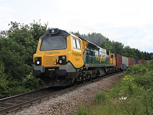 British Rail Class 70 (diesel) - Freightliner 70017 working a container train out of the Port of Felixstowe in June 2012